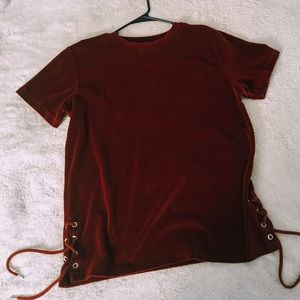 boohooMAN Velour T-Shirt With Lace Detail